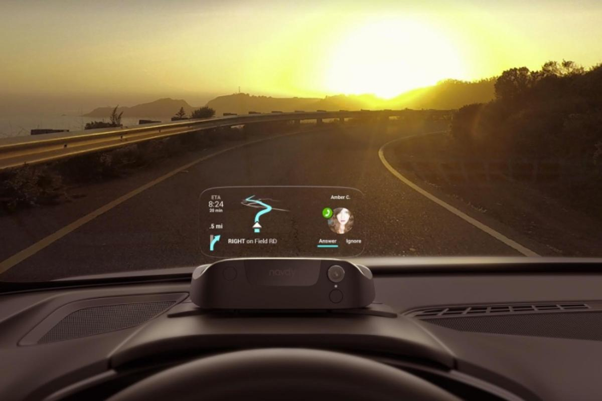 The Navdy head up display lets you continue to view your navigation while also taking or making calls orchoosing music