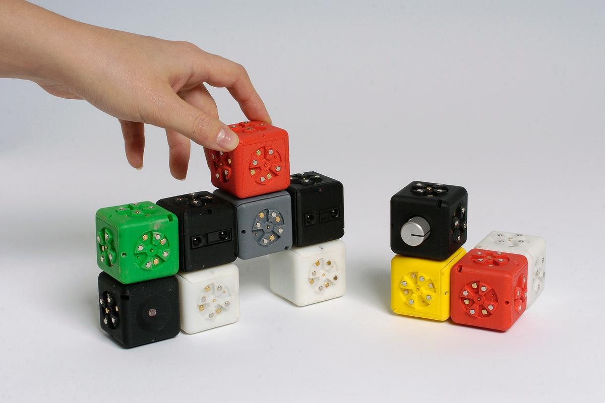 The Cubelets robotic construction kit allows anyone to build simple robots using blocks that magnetically snap together, the overall behavior determined by the interaction between them