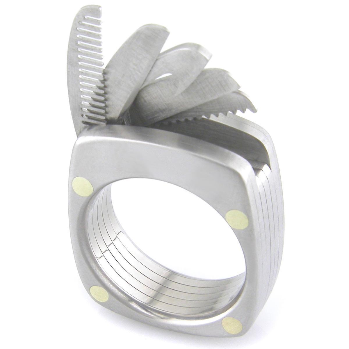 The Titanium Utility Ring incorporates five tiny folding tools