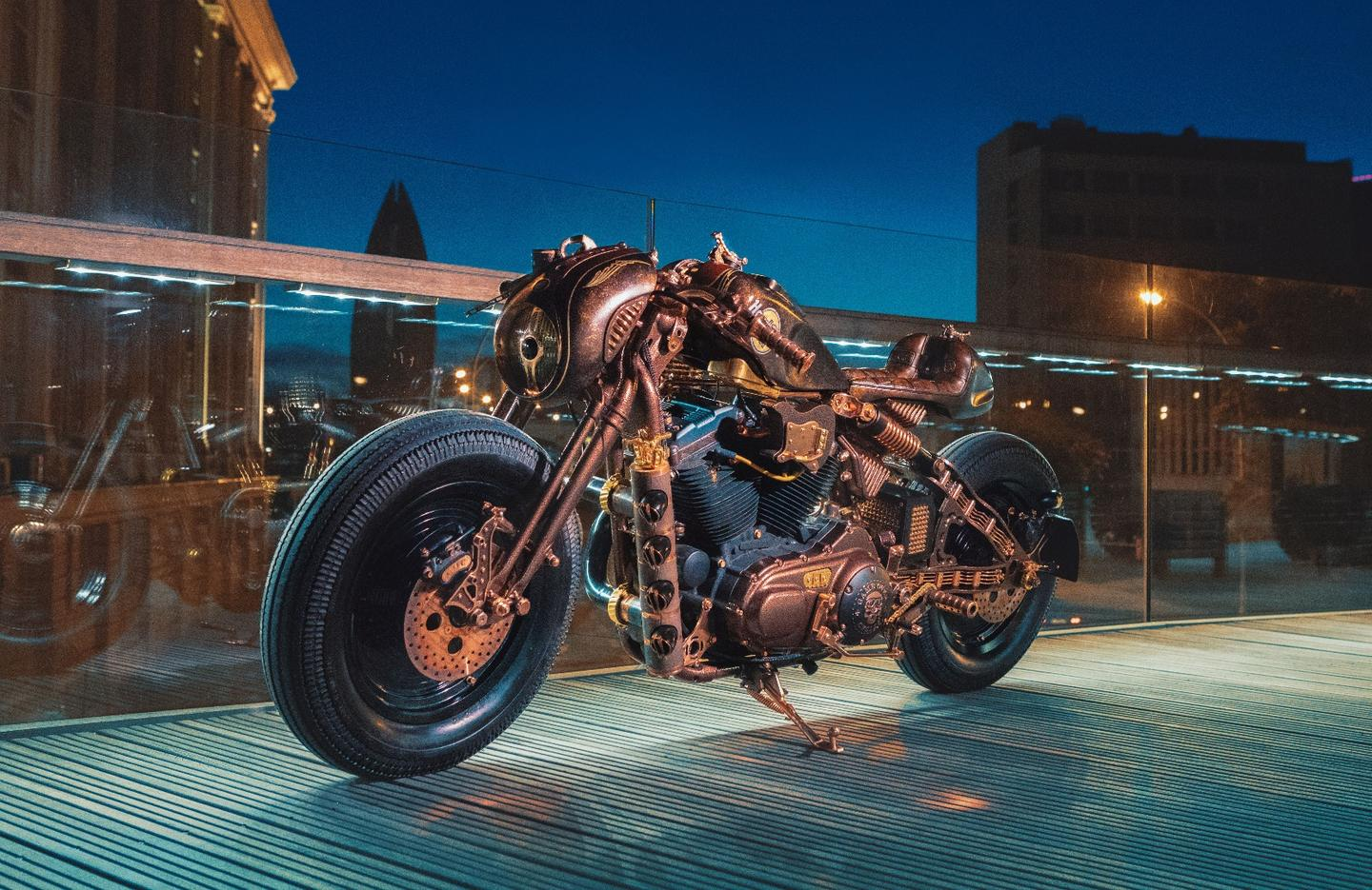 References to the world of music and music gear feature heavily on the Cafe Racer by Game Over Cycles