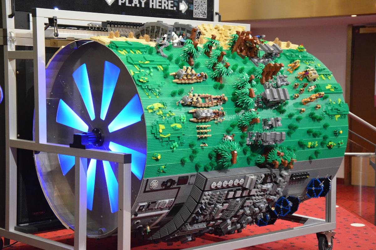 The Star Wars barrel organ made from over 20,00 pieces of Lego that plays the Star Wars theme