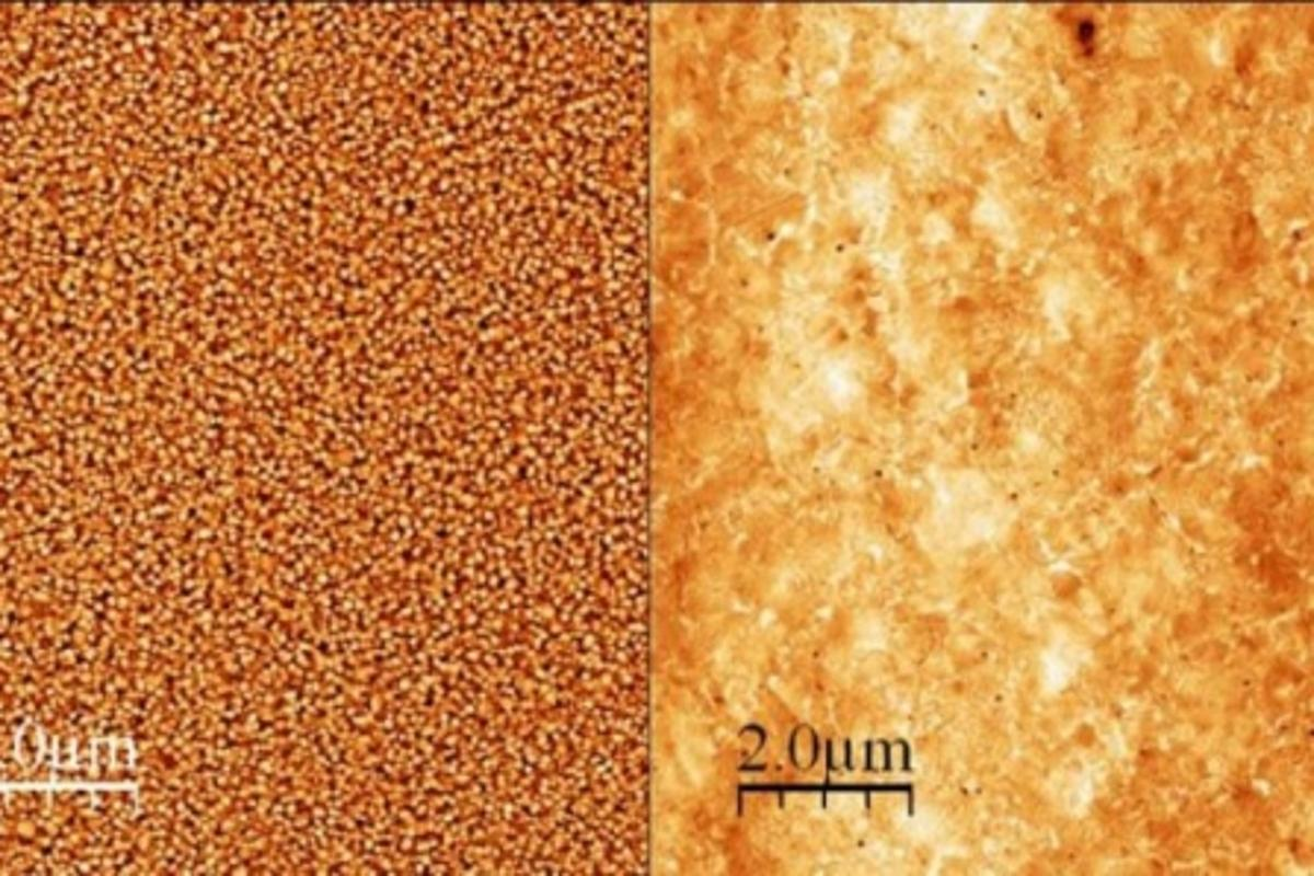 In comparison to the substantially rougher gold surfaces created by other methods, (left), the flip-chip lamination method creates an ultra-smooth gold surface, (right), which allows the organic molecules to form a thin yet even layer between the gold and silicon (Photo: Coll Bau, NIST)