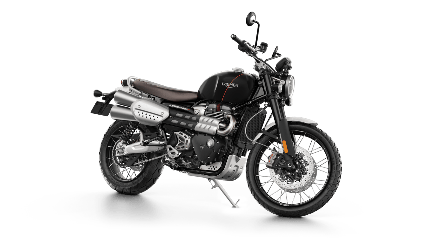 Triumph Scrambler 1200 XC: high-rise twin pipes are a signature of this design
