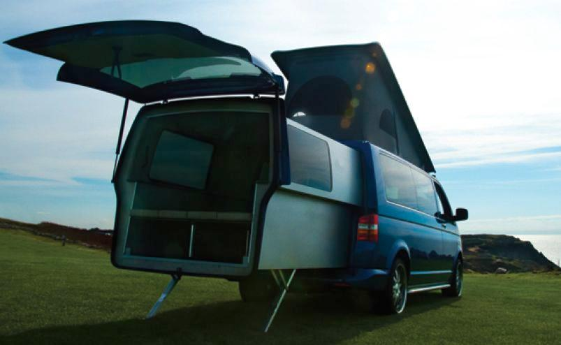 The DoubleBack is a sliding pod that extends the interior space of the Volkswagen T5 Transporter van