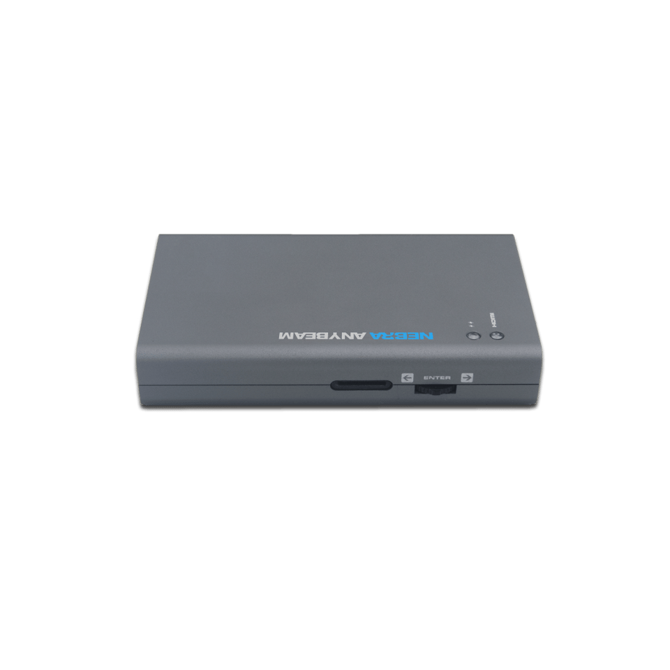 The Nebra AnyBeam portable projector connects to a smartphone,tablet, computer, laptop, Fire TV stick, Chromecast and more over HDMI