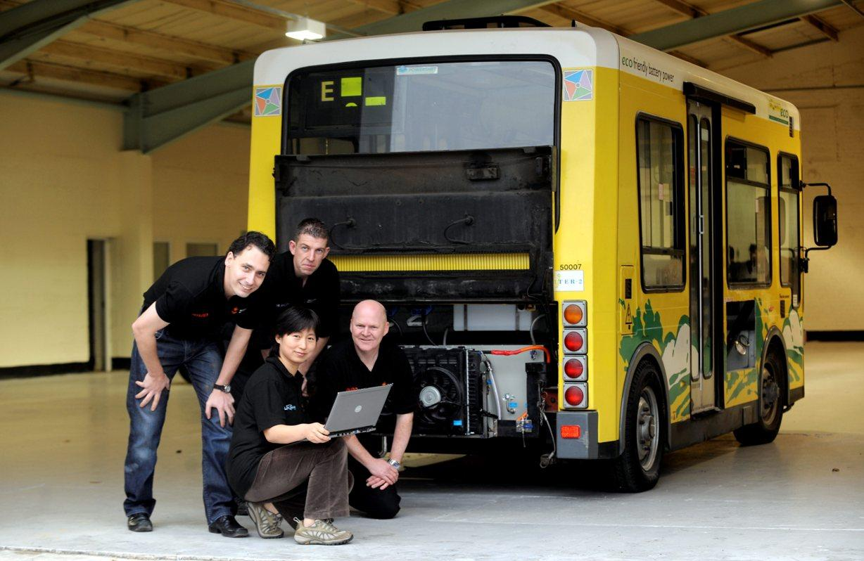 The University of Sunderland's Dirk Kok, Mark Armstrong, Maggie Ren and Adrian Morris with the green bus