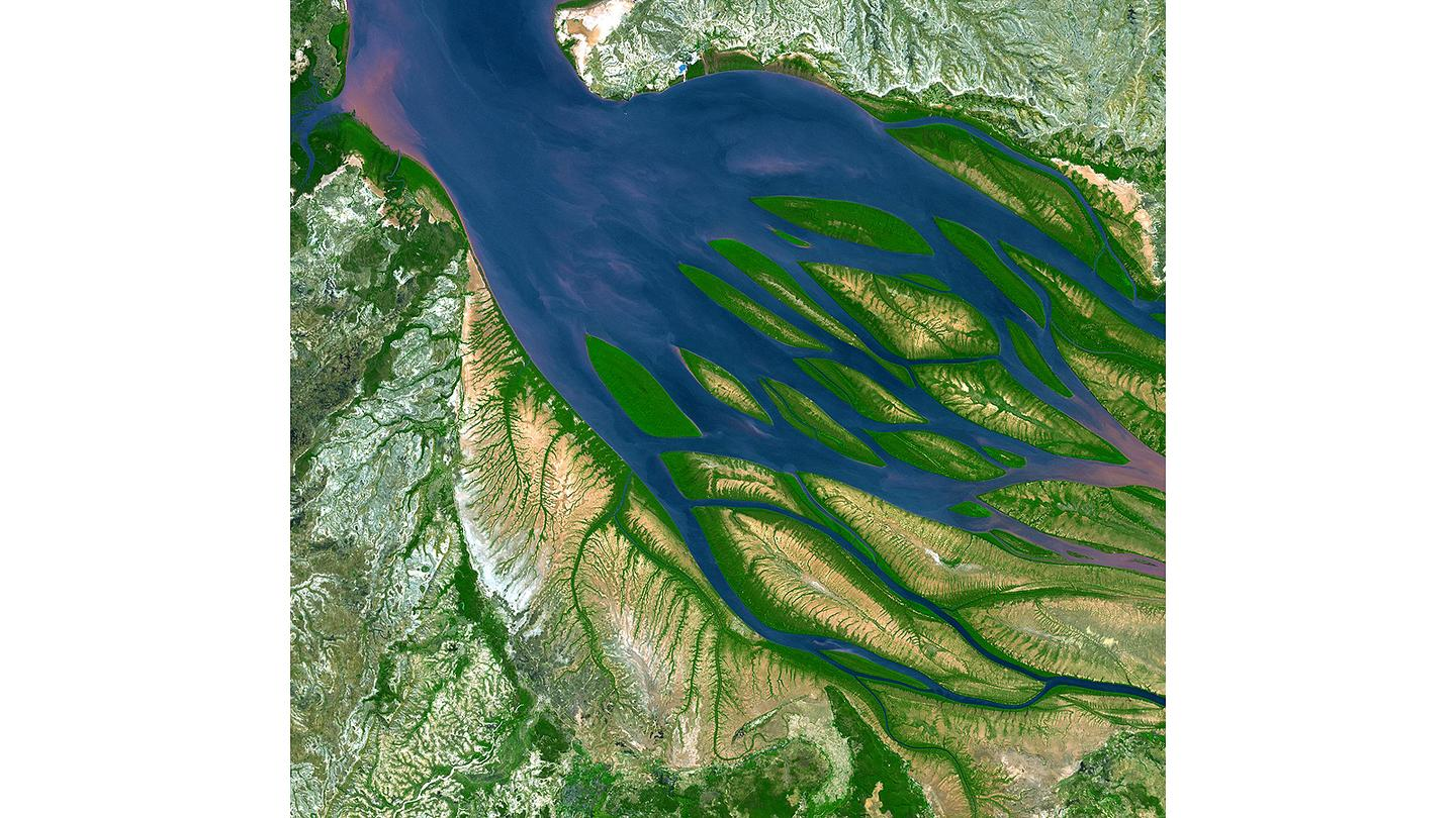 The mixing entropy battery could be used to build power plants at estuaries where fresh water rivers join the ocean (Image: NASA)