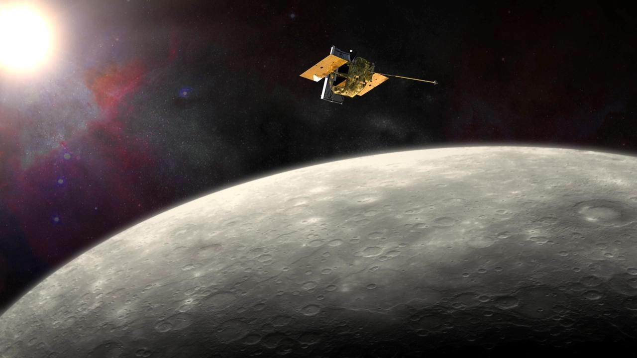 Artist's impression of MESSENGER in orbit around Mercury (Image: NASA, JHU, APL, Carnegie Institution of Washington)