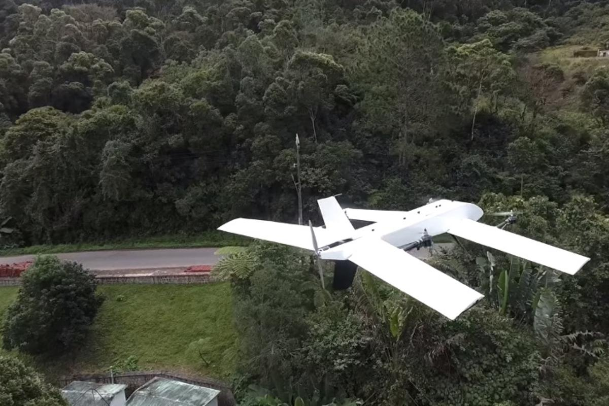 A drone approaches theCentre ValBio research station