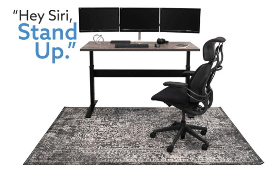 The VertDesk v3 standing desk can be auto raised by voice command