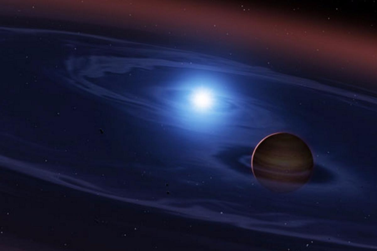 Artist's impression of the white dwarf (left) and brown dwarf (right) that comprise SDSS 1557