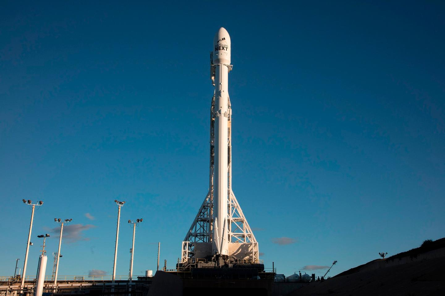 The Falcon 9 rocket ready and waiting