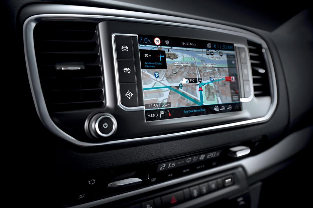 The Peugeot Traveller i-Lab navigation system offers real-time traffic, road and weather conditions