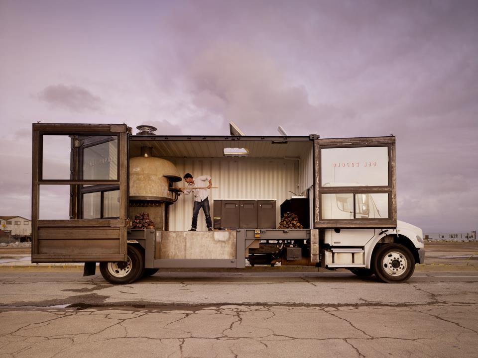 Del Popolo's is a traveling pizza truck located in San Francisco, that features an impressive wood-fired pizza oven