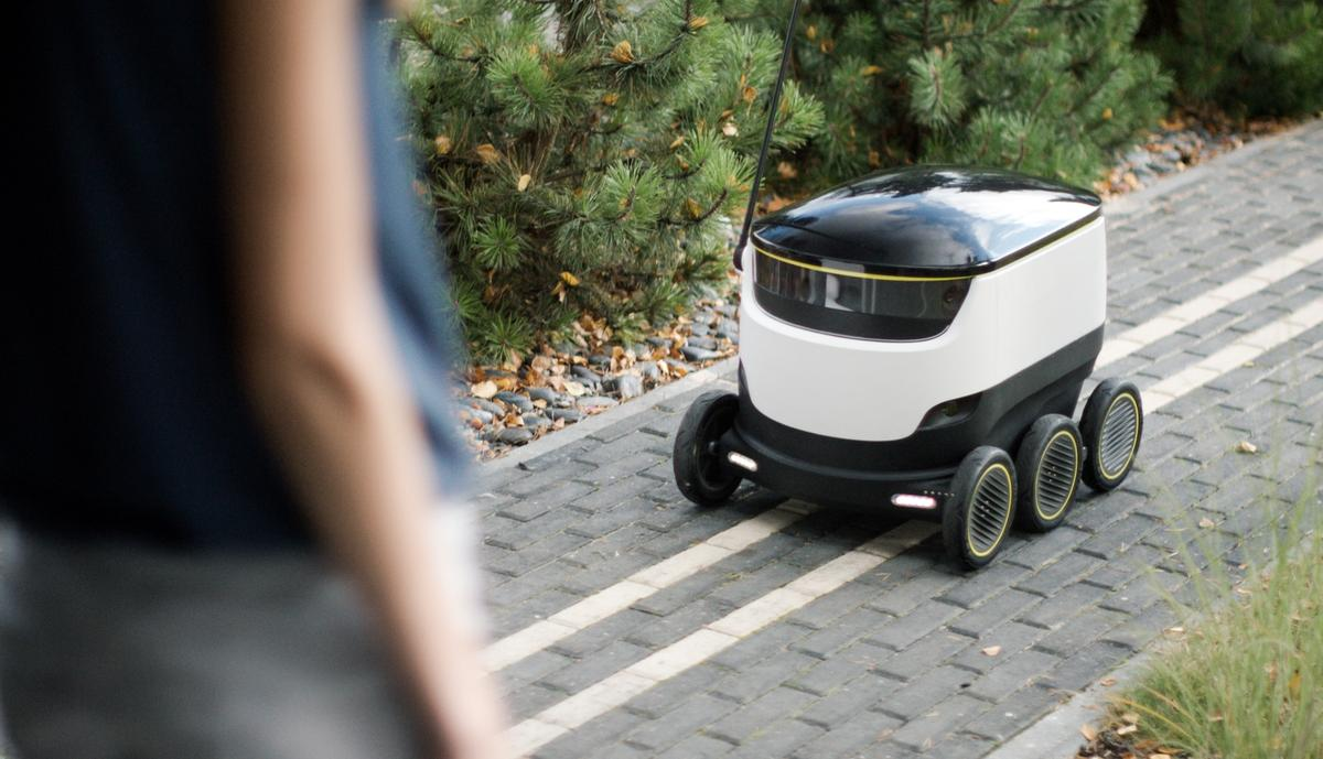 The robots are designed for delivering packages, groceries and food to consumers in a 2-3-mi (3-5-km) radius