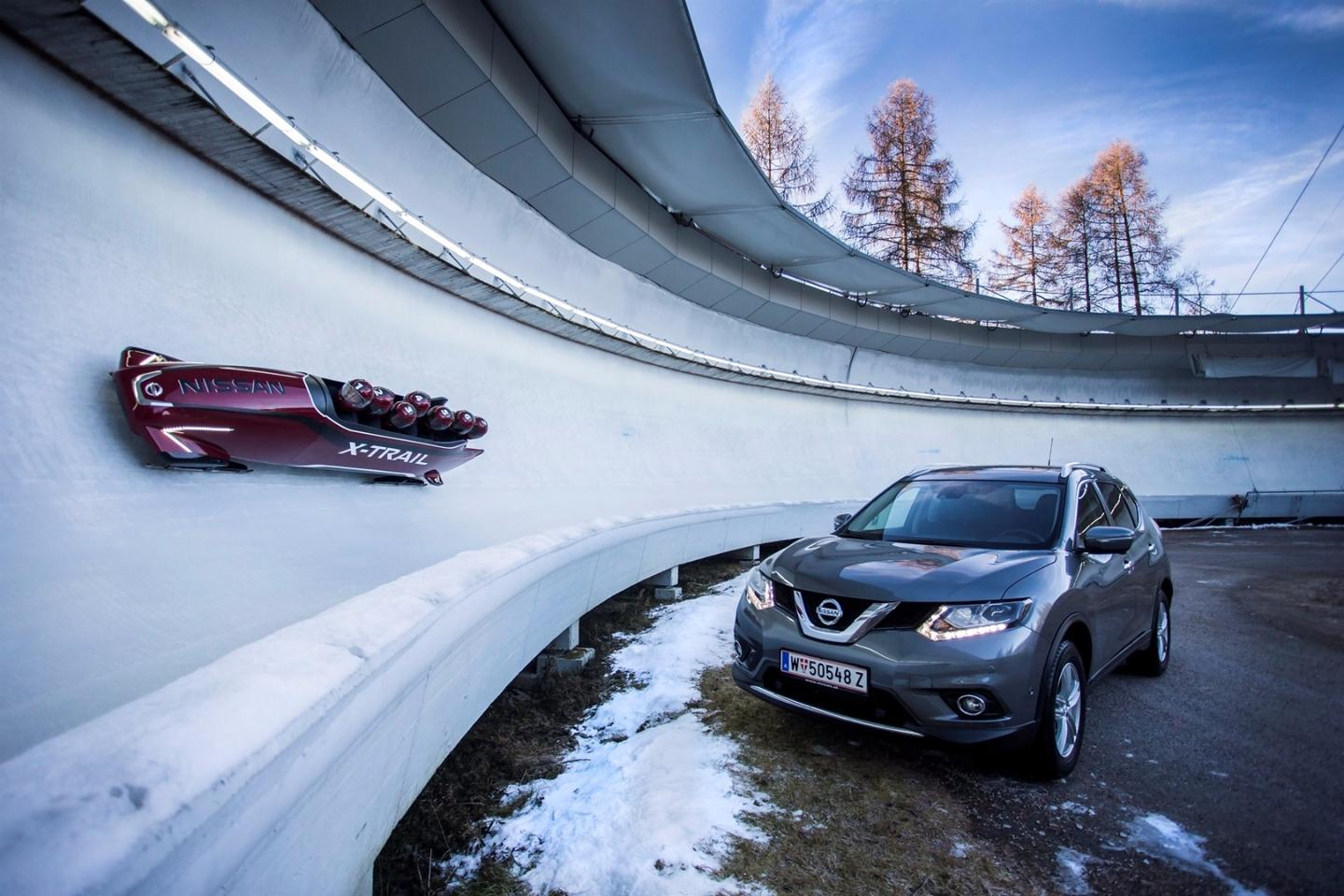 The X-Trail Bobsleigh can accelerate from 0-62 mph (0-100 km/h) in 30 seconds and tops out at 65 mph (105 km/h)