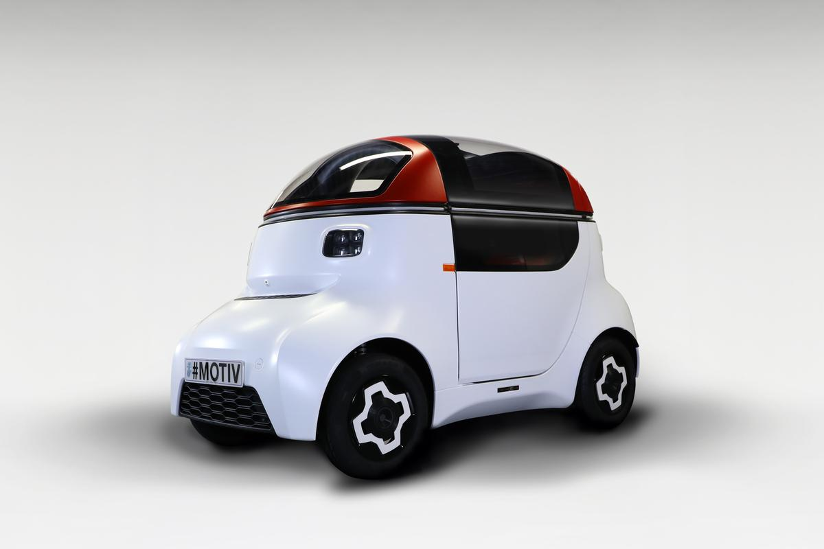 The Motiv single-seat electric quadricycle is said to be ready for install of self-driving tech, rather than already autonomous
