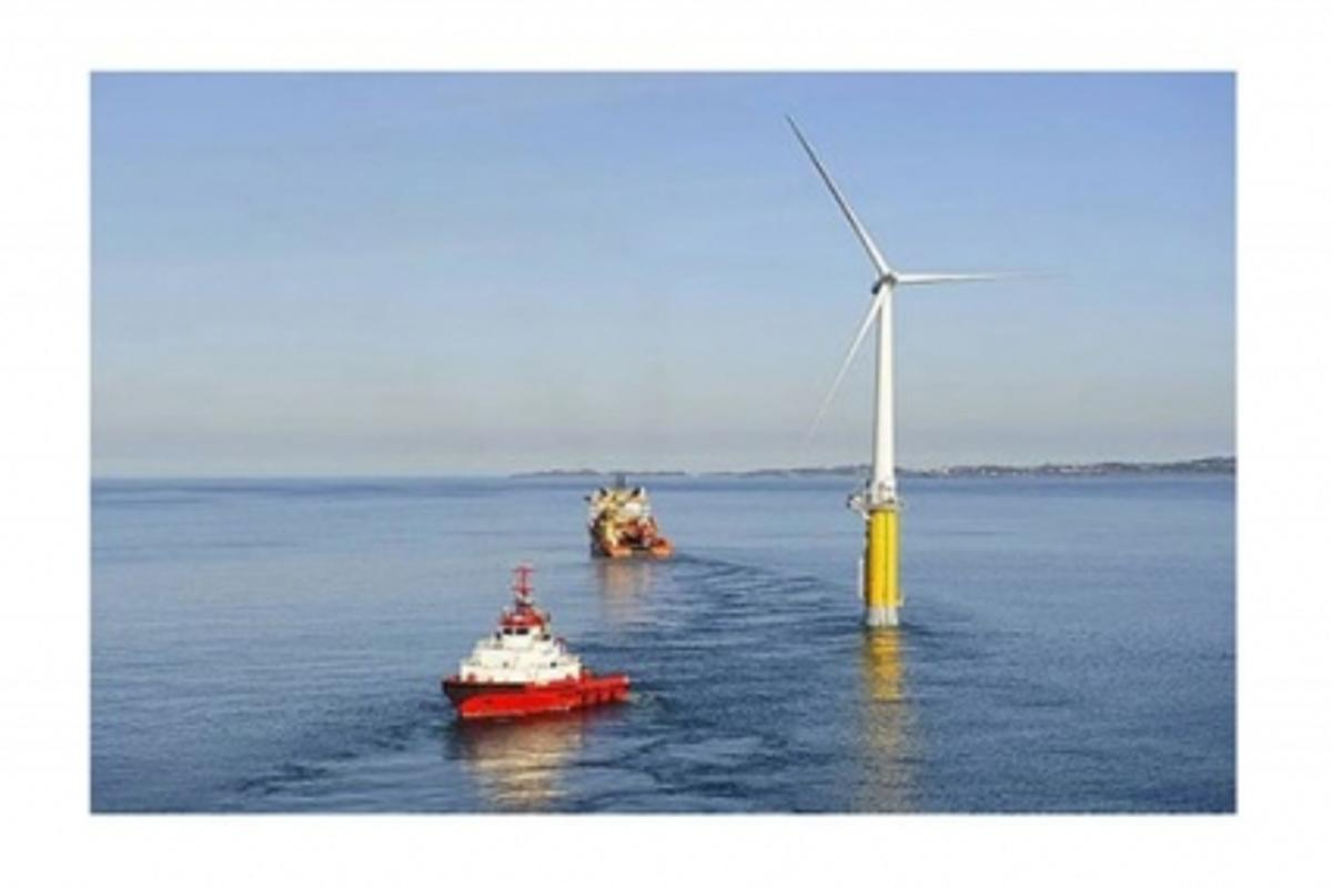 The Hywind floating wind turbine is towed to its final offshore destinationPHOTO: Øyvind Hagen, StatoilHydro