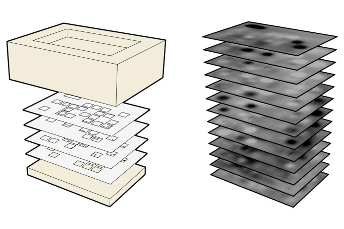 An illustration of InfraStructs (left) and the resulting terahertz scans (right) (Image: Karl Willis)