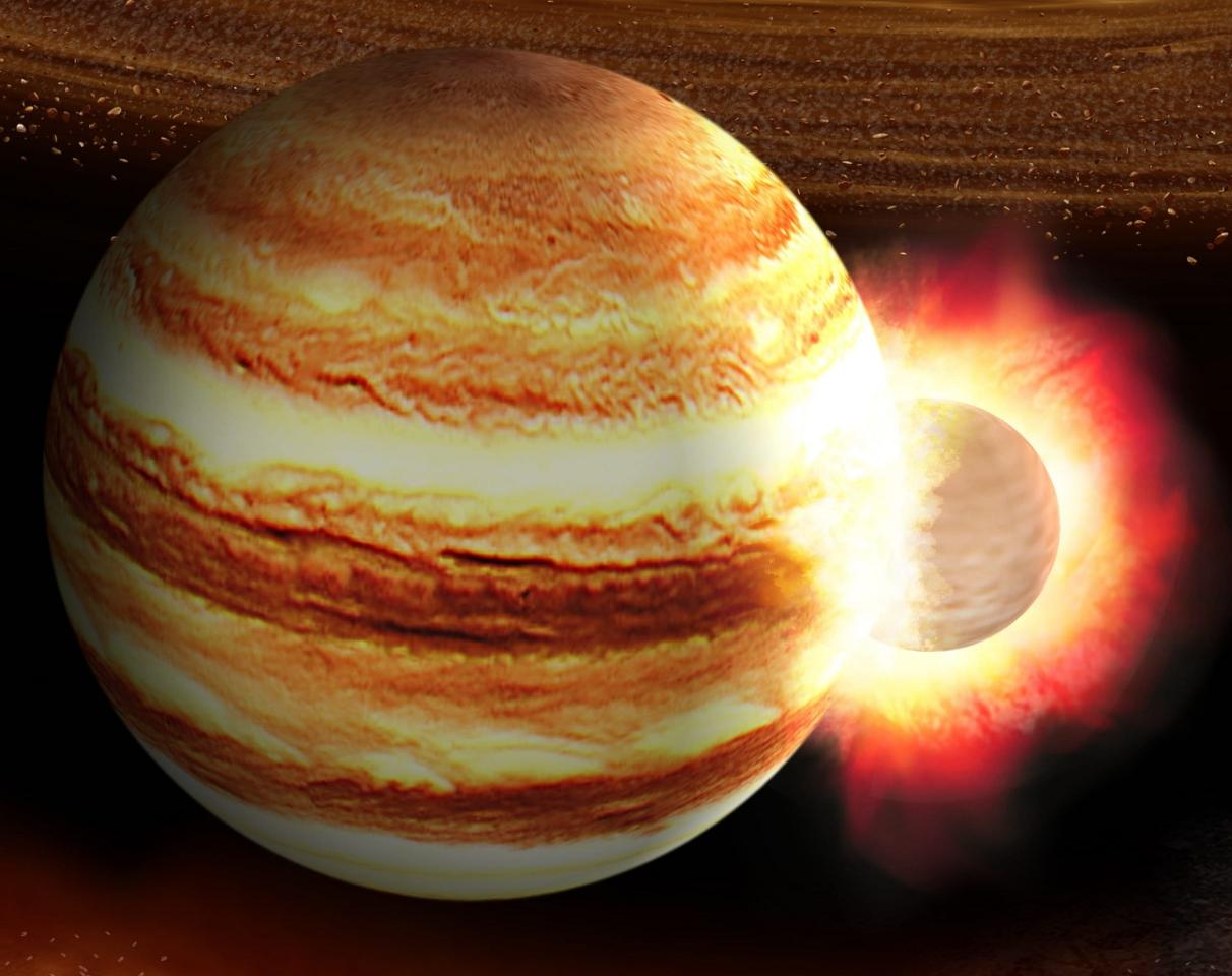 An artist's impression of a collision between Jupiter and a large, ancient planetoid that would have disrupted its core