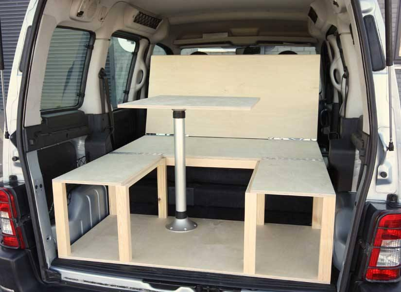 The original Simple kit fits out small vans like the Peugeot Partner and Fiat Doblo with a convertible sofa, dining area and bed