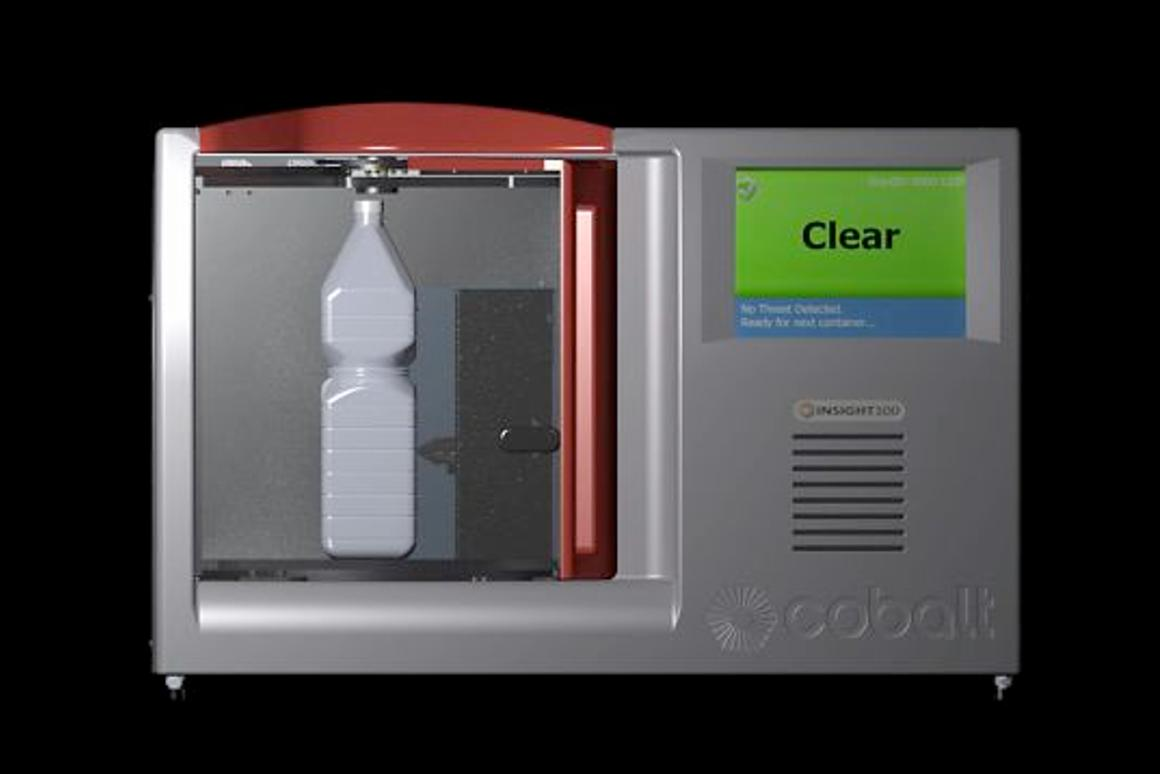 The INSIGHT100 airport security scanner is able to identify the liquid contents of various containers