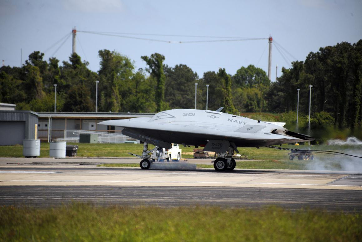 The X-47B catching the arrester cable