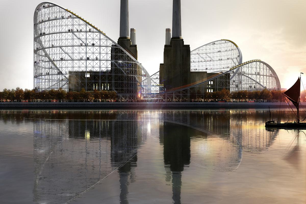 Battersea Power Station reimagined, with roller coaster (Image: Charles Wallon/Airstudio/Atelier Zündel Cristea)