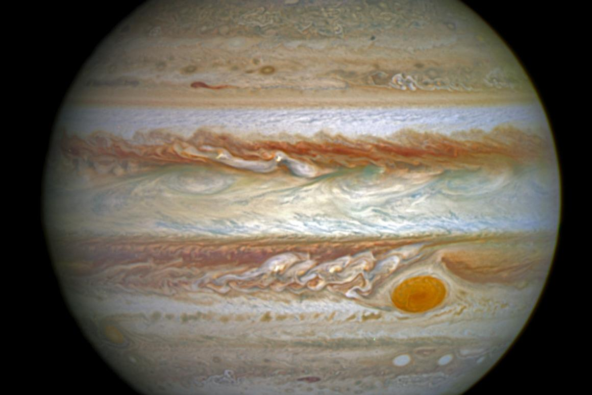 This composite image shows an aurora at Jupiter's pole that measures roughly the same size as Earth