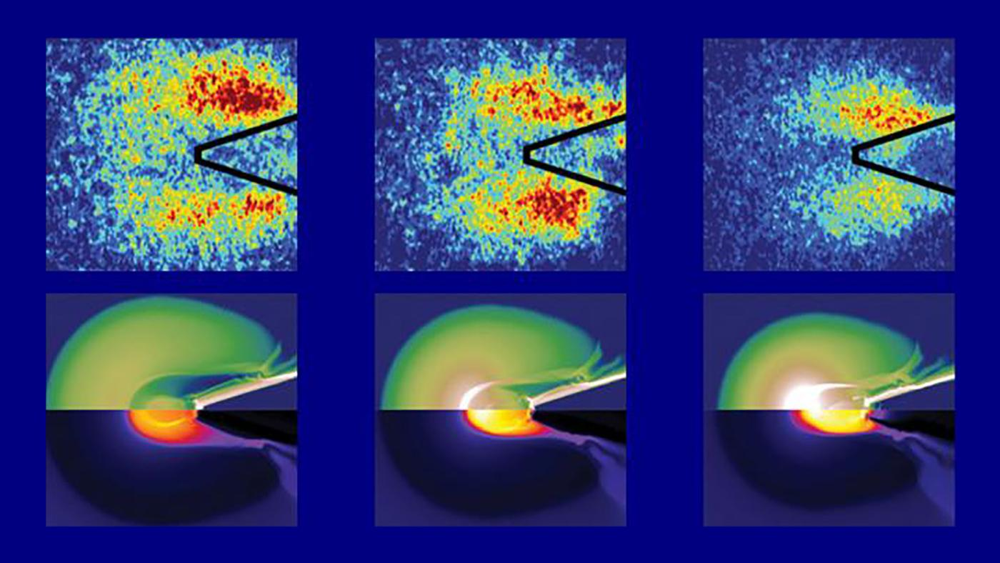 When the laser beam hits the compressed fuel, high-energy electrons are generated – these hit the copper and cause X-ray emissions, which are then imaged to analyze the flow of energy