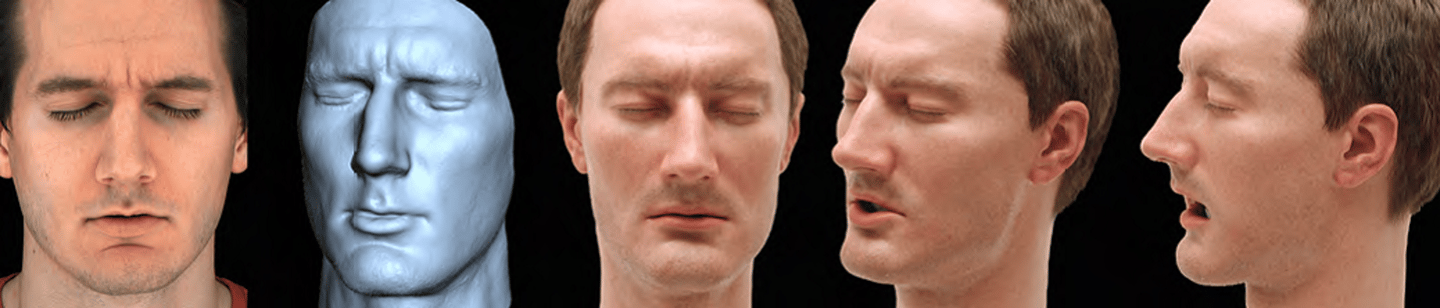 Comparing the original human model, the digital mesh and the resulting animatronic head (Image: Disney)