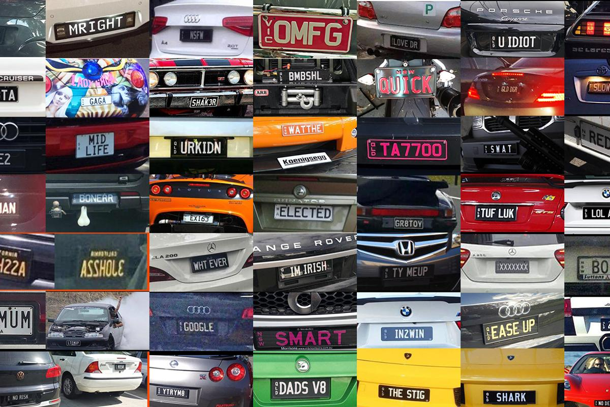 A selection of personalised number plates in use in Australia from the Facebook page of Number Plates Australia