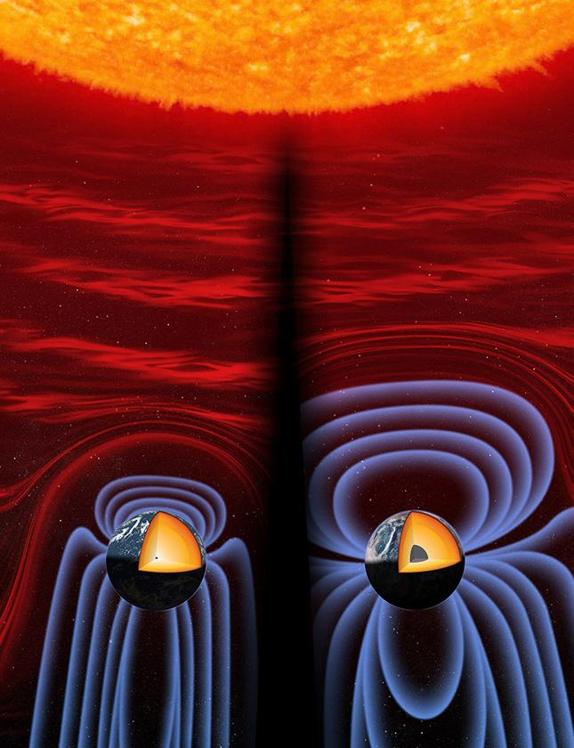(Left) The Earth's core and magnetic field 565 million years ago, at its weakest point. (Right) The Earth's current core and magnetic field