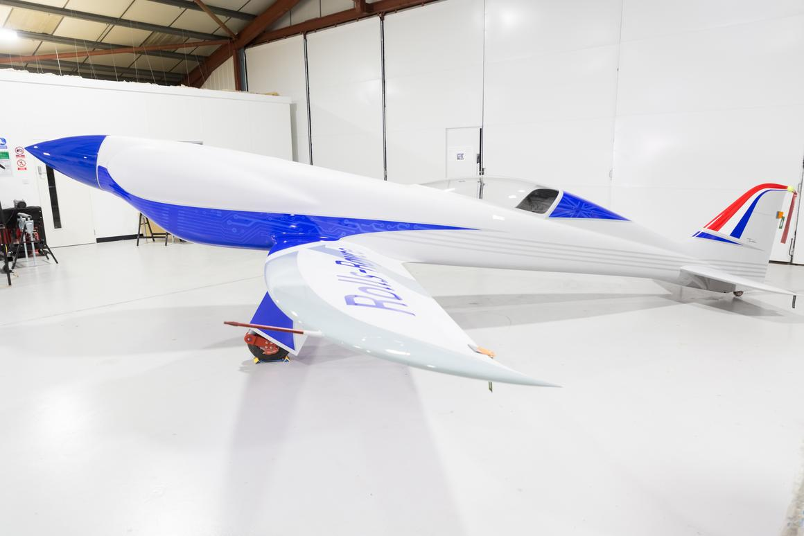 The streamlined silhouette of the ACCEL project plane that has its eyes on a speed record