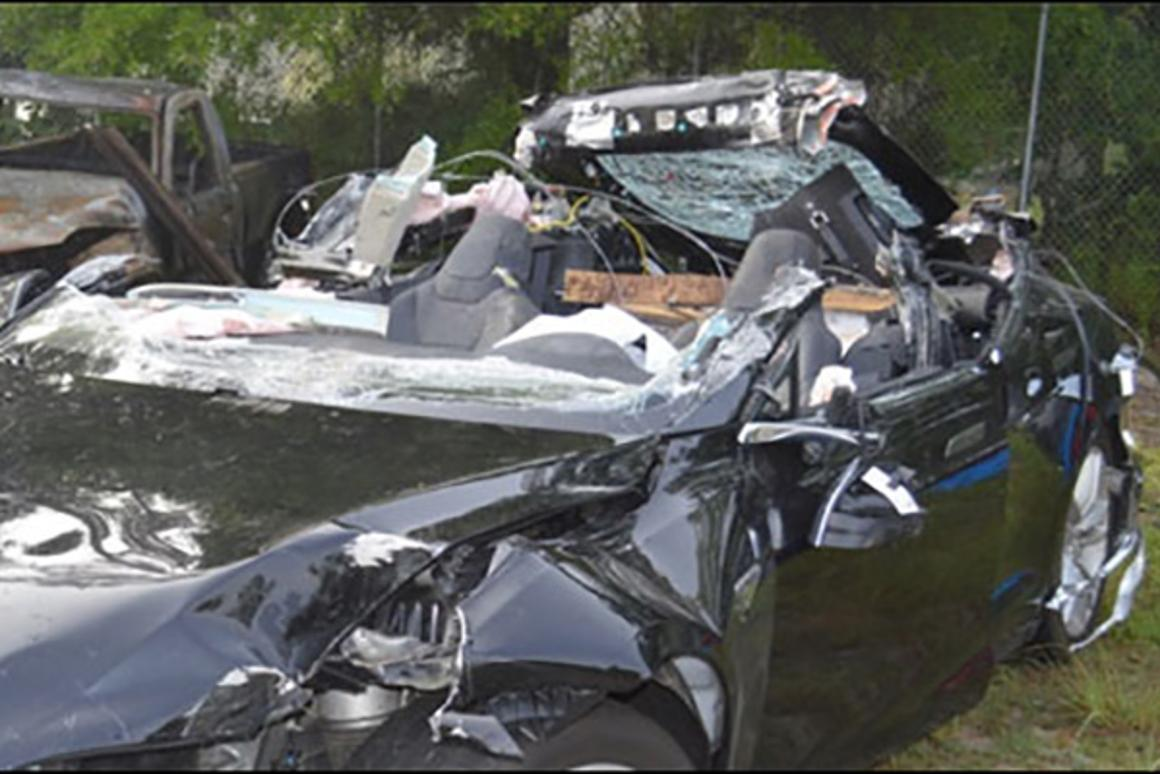 The roof was ripped off Joshua Brown's Model S in the Autopilot accident
