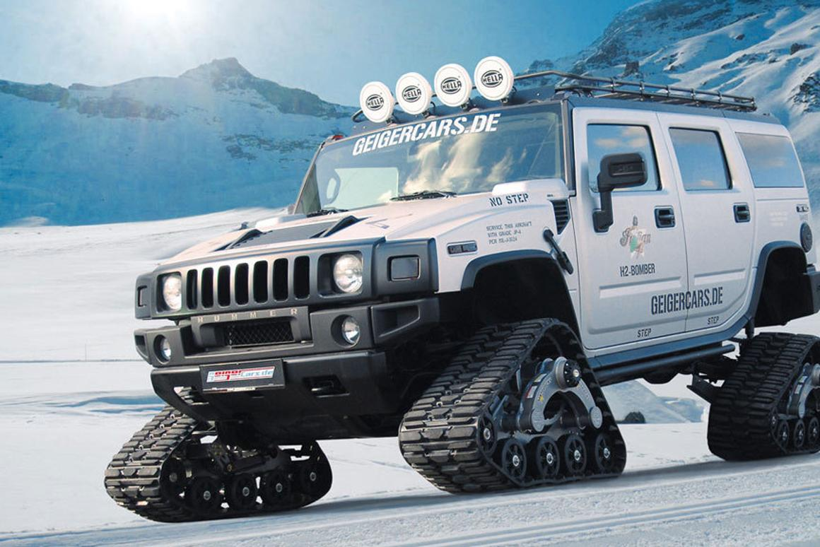 Geiger Cars' custom Hummer H2 Bomber sports Mattracks rubber tracks for unrivaled traction on any type of terrain