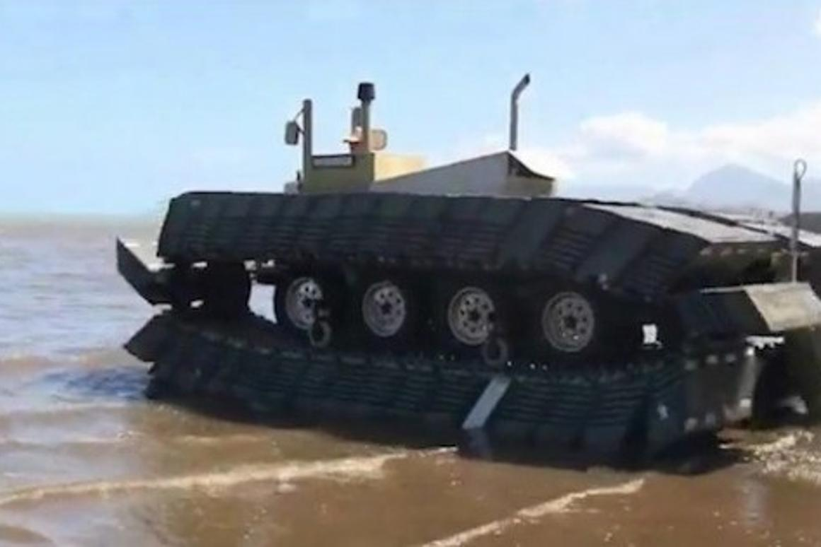 DARPA's one-fifth scale prototype of the Captive Air Amphibious Transporter - walks on land, marsh, and water (Photo: DARPA)