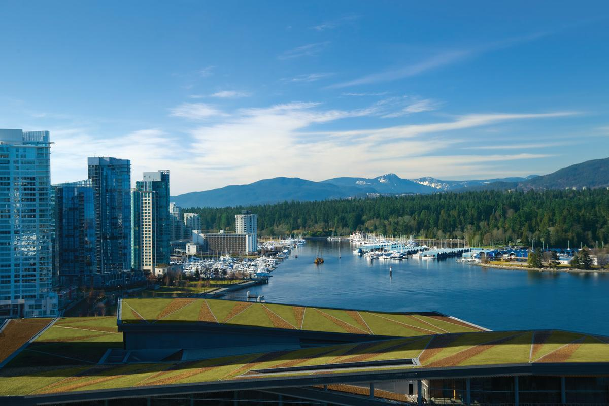 "The Vancouver Convention and Exhibition Center has a six acre ""living roof"", the largest in Canada and the largest non-industrial living roof in North America (Image: VCAEC)"