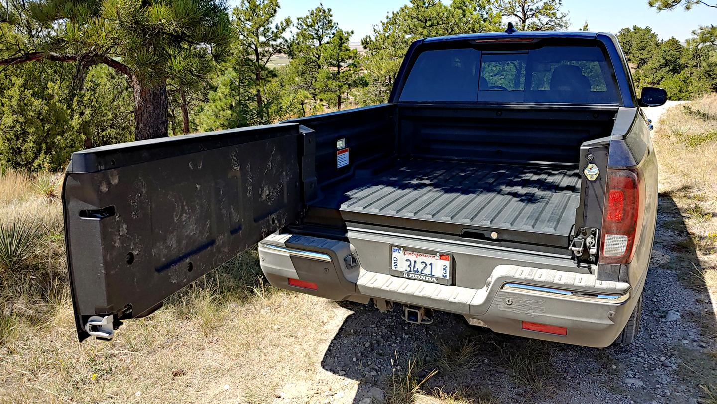 One of the Ridgeline's greatest features is the outward-swinging tailgate for easier bed access