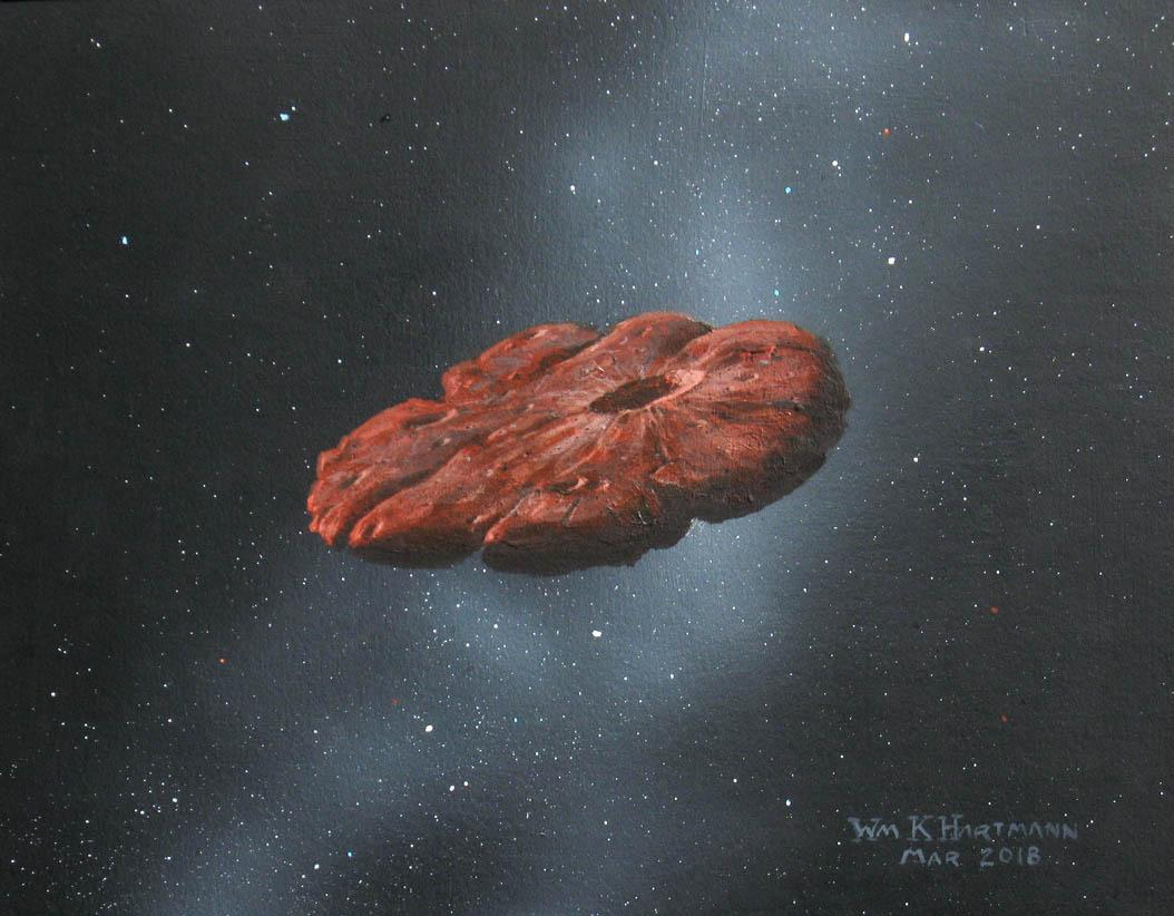 An illustration of 'Oumuamua's pancake-like shape