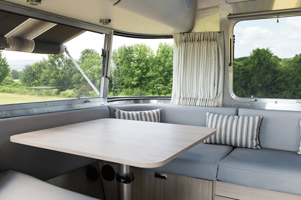 Airstream's Globetrotter trailer keeps it clean and curvy inside