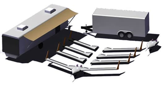 Artist's rendering of X-56A MUTT package, consisting of the aircraft with three additional wing sets and a second fuselage/mid-body (center), flanked by the ground control station on the left and the air vehicle storage/transport trailer on the right (Image: AFRL/Lockheed Martin)