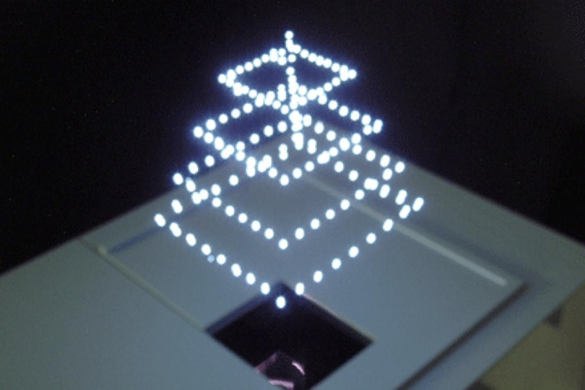 A True 3D pyramid hovers in mid-air(Image: DigInfo)
