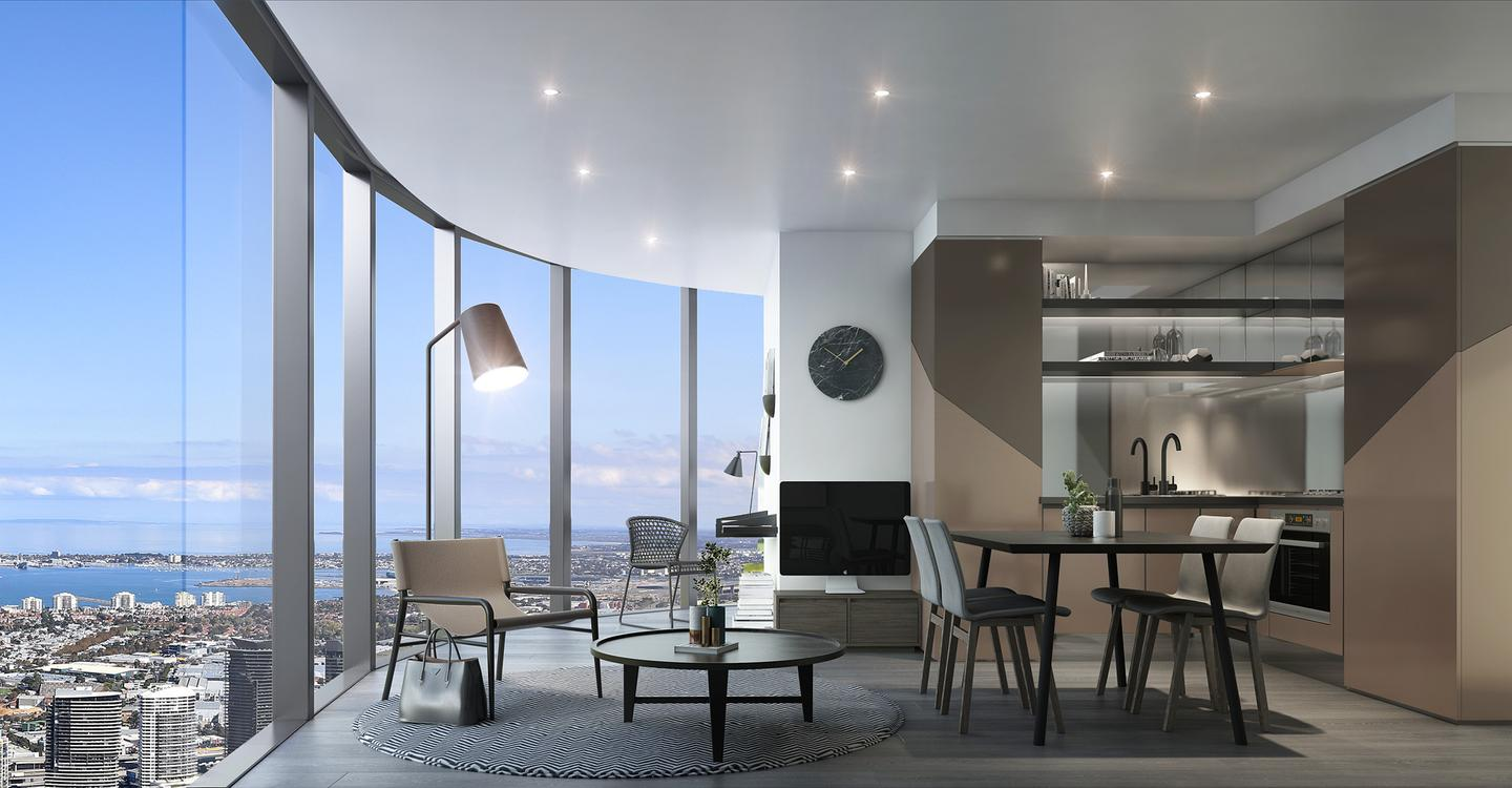The apartments and common areas inside Melbourne's Premeir Tower will be full of chocolate, champagne, bronze and gold colors, inspired by Beyoncé's skin tones and theatre performances