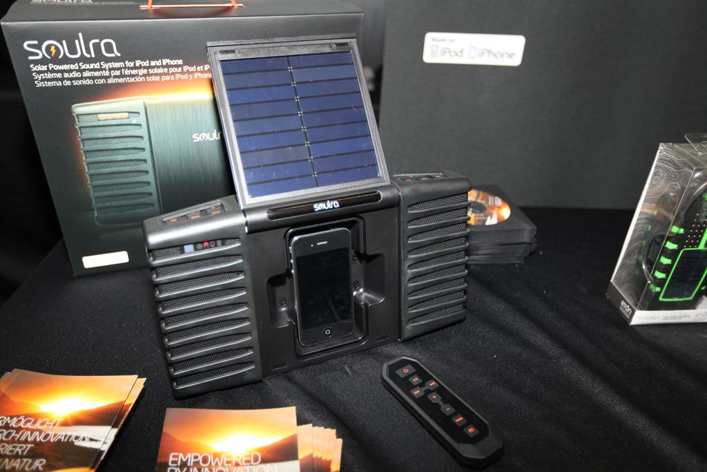 Eton has developed a solar-powered iPod/iPhone dock for the great outdoors - seen here at IFA recently