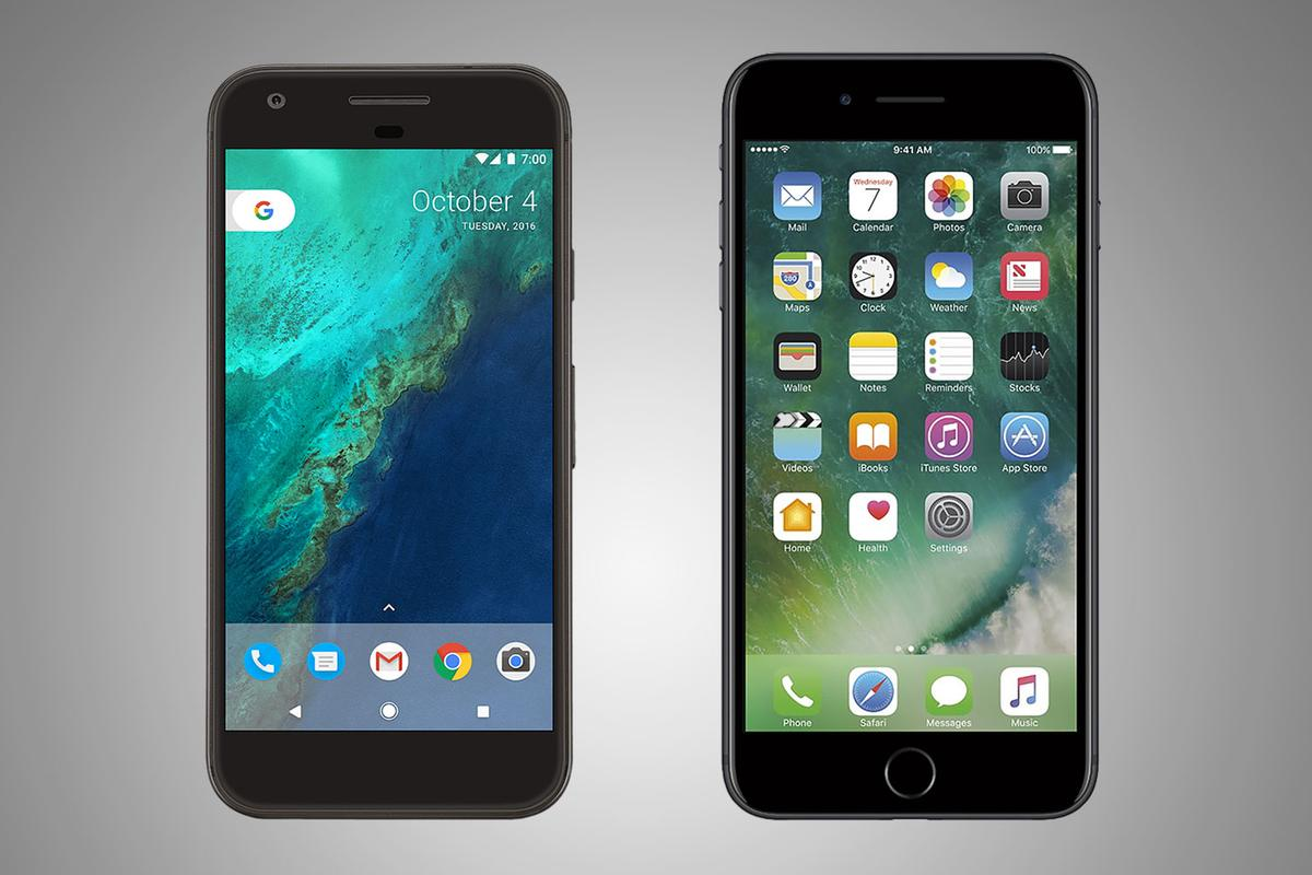 Side-by-side comparison of the Google Pixel XL and iPhone 7 Plus