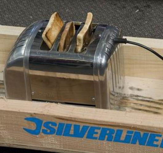 Belt-sander powered toaster (complete with toast)