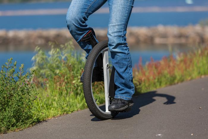 The Lunicycle features an elliptical wheel, offset cranks, and calf braces