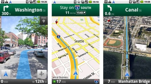 Street View, regular and satellite View - Google Maps Navigation does them all