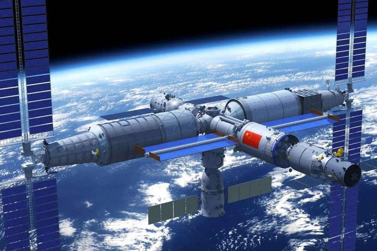A render of China's Tiangong space station in orbit